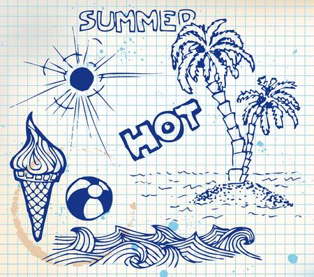 Summer doodle elements - sun, ocean, palm trees, ice cream, ball photo