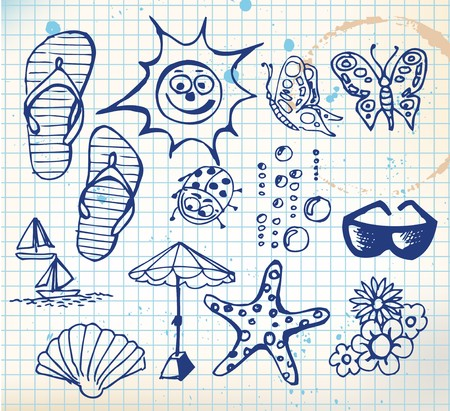 Summer doodle elements - sun, ocean, flower photo