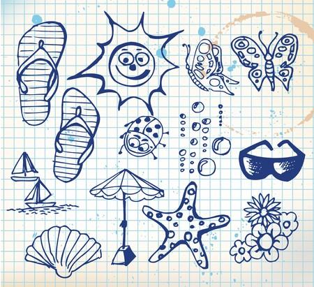 Summer doodle elements - sun, ocean, flower Stock Photo - 7151334