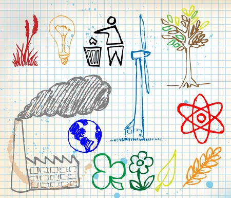 polution: Set of colorful ecology hand-drawn icons - doodles on chequered paper