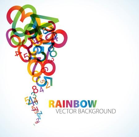 matematica: Fondo abstracto con n�meros de colorido arco iris
