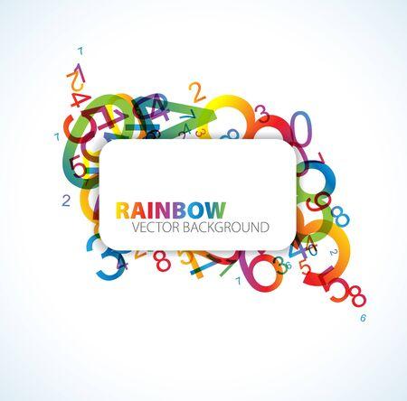 simbolos matematicos: Fondo abstracto con n�meros de arco iris colorido y lugar para el texto