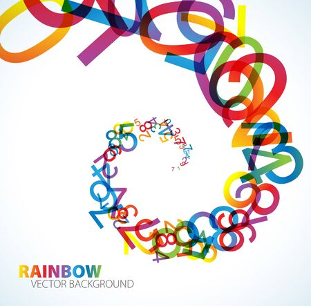 cipher: Abstract background with colorful rainbow numbers Stock Photo