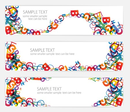 Banners with colorful rainbow numbers Vector