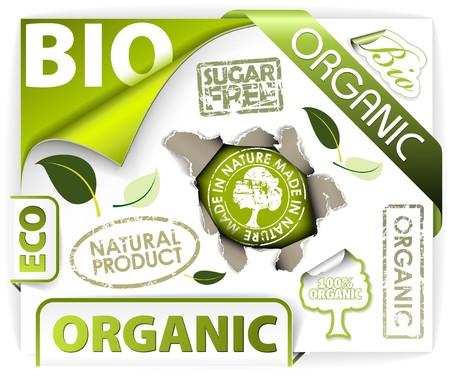 Jeu de bio, éco, éléments organiques - étiquettes, des autocollants, des timbres, ribbons