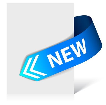 nastro angolo: Nuovo angolo blu nastro - freccia rivolta verso il contenuto  Vettoriali