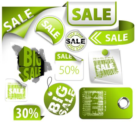 product background: Set of green discount tickets, labels, stamps, stickers, corners, tags Illustration