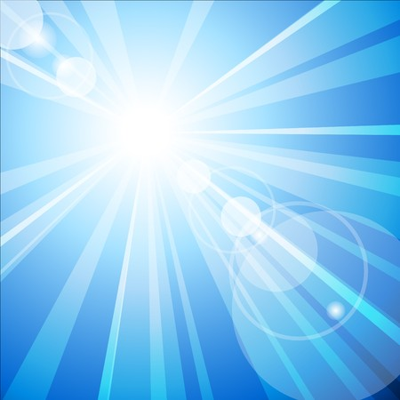 resizable: Blue sky with hot summer sun Illustration