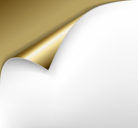 paper curl: Hoja de papel dorado con un doblez