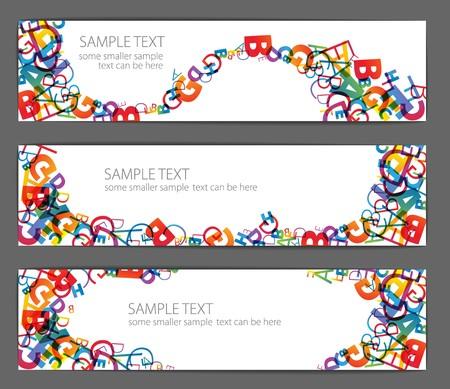 rekensommen: Collectie van banners met kleurrijke rainbow nummers Stock Illustratie