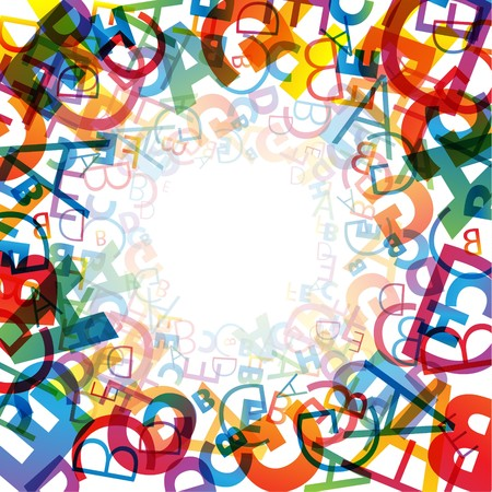 science cartoon: Abstract background with colorful rainbow letters