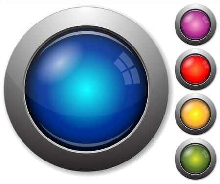 Colorful glass buttons with metal borders on white background Vector