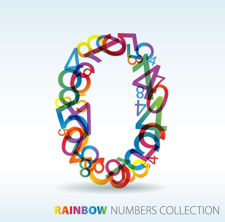 number: Number zero made from colorful numbers -  check my portfolio for other numbers Illustration