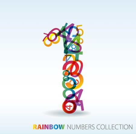 Number one made from colorful numbers -  check my portfolio for other numbers Stock Vector - 7517603