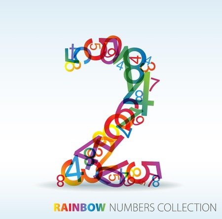 Number two made from colorful numbers -  check my portfolio for other numbers Stock Vector - 7517622