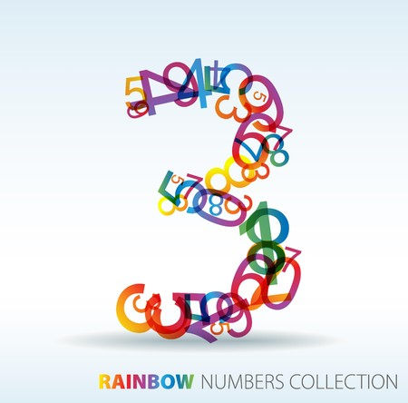Number three made from colorful numbers -  check my portfolio for other numbers Stock Vector - 7517620