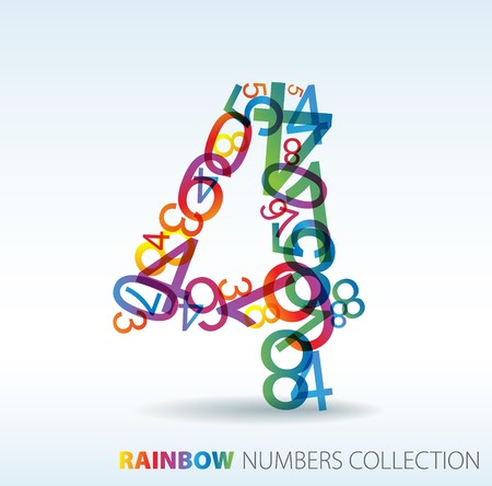 Number four made from colorful numbers -  check my portfolio for other numbers Stock Vector - 7517602