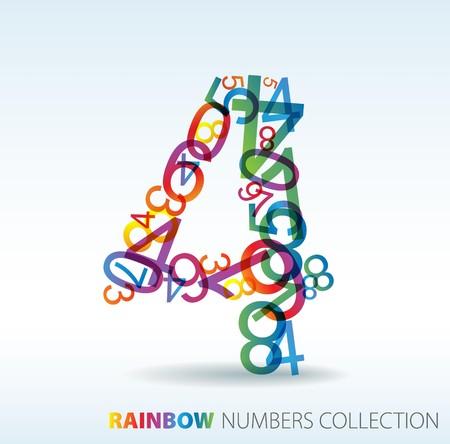 cijfer vier: Nummer vier gemaakt van kleurrijke nummers - check mijn portfolio voor andere nummers