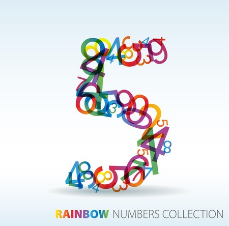 Number five made from colorful numbers -  check my portfolio for other numbers Stock Vector - 7517625