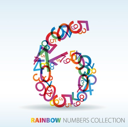 Number six made from colorful numbers -  check my portfolio for other numbers Vector