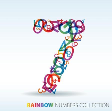 sept: Num�ro sept fabriqu�s � partir de num�ros color� - v�rifier mon portefeuille pour les autres num�ros.