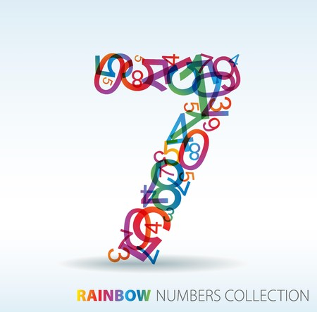 rekensommen: Nummer zeven gemaakt van kleurrijke nummers - check mijn portfolio voor andere nummers