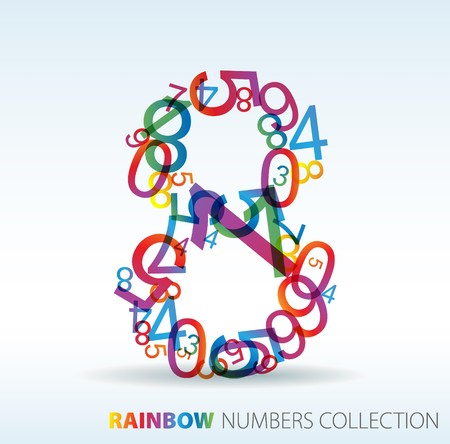 Number eight made from colorful numbers -  check my portfolio for other numbers Stock Vector - 7517621