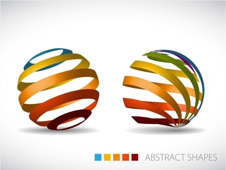 technology symbols metaphors: Collection of abstract spheres made from colorful stripes Illustration