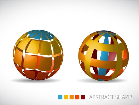 Collection of abstract spheres made from colorful stripes and squares Vector
