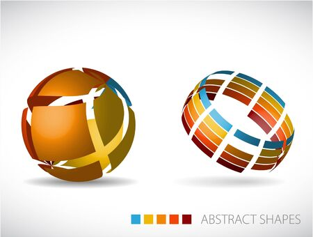 rainbow sphere: Collection of abstract spheres made from colorful stripes Illustration