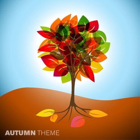 Vintage abstract autumn tree drawing with colorful leafs Vector