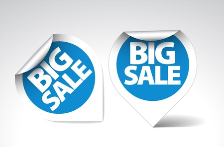 Round Labels  stickers for big sale - blue  with white border Vector