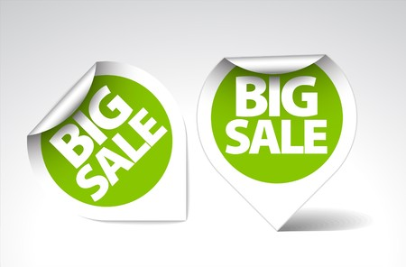 advertising design: Round Labels  stickers for big sale - green with white border Illustration