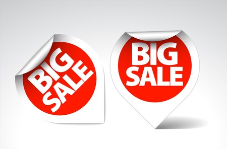 Round Labels  stickers for big sale - red with white border Vector