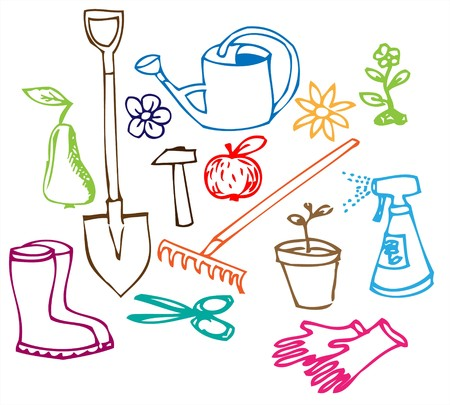 raking: Colorful Garden doodle illustration collection on white background