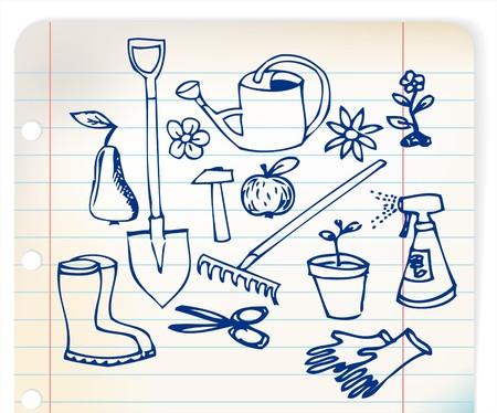 linked: Garden doodle illustration collection - blue on linked paper