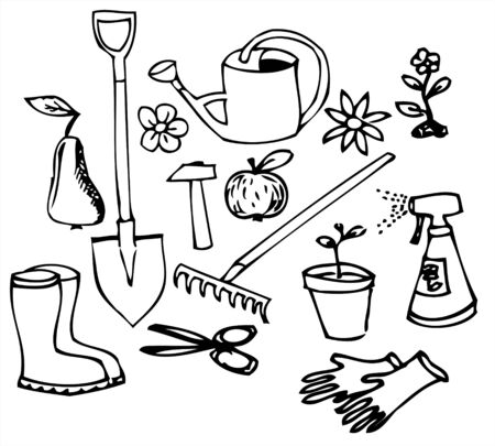 gardening tools: Garden doodle illustration collection - black on white