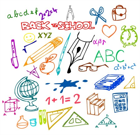 back icon: Back to school - set of school doodle illustrations