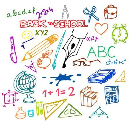 back to school: Back to school - set of school doodle illustrations