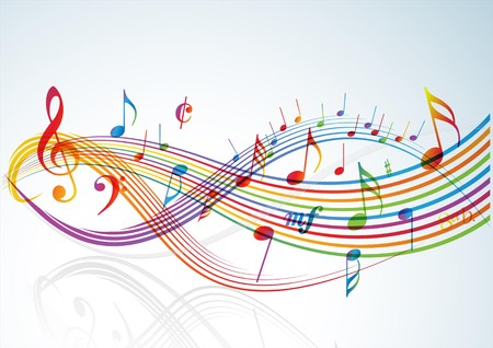 symphony orchestra: Music theme - rainbow notes on light background