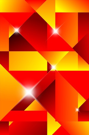 Cubism abstract background - red and yellow Vector