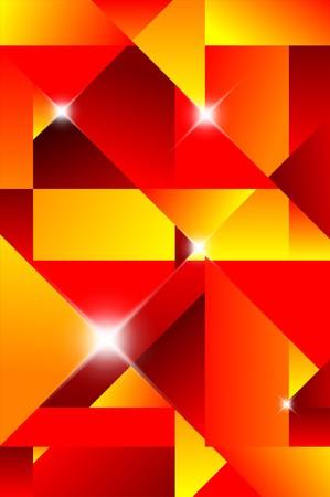 cubismo: Trasfondo abstracto de cubismo - rojo y amarillo