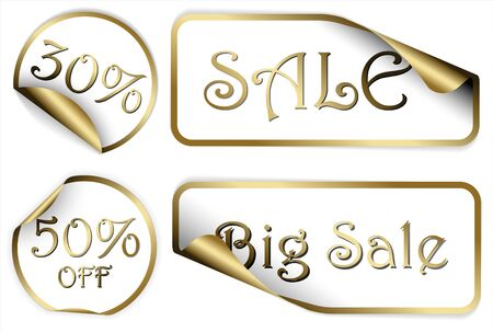 Set of white labels badges and stickers with golden border Vector