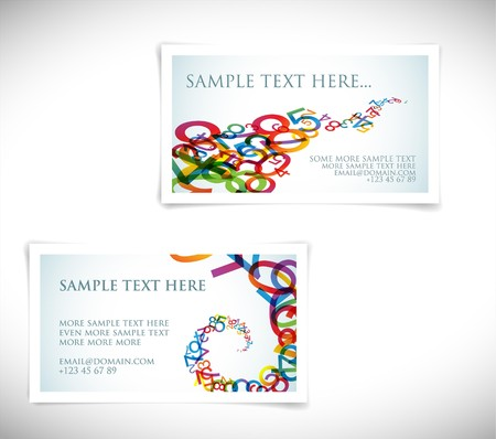 digital numbers: Set of modern business card templates