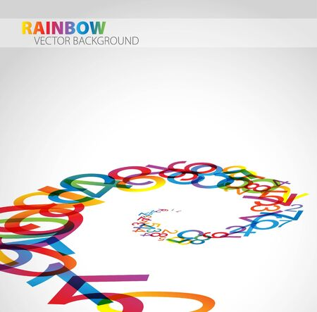 3D abstract background with colorful rainbow numbers Vector