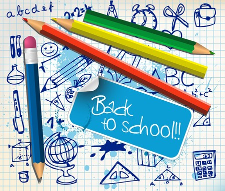 school supplies: Back to school poster with paper and color pencils Illustration