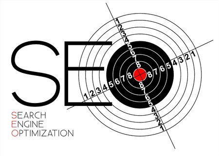 optimize: SEO - Search Engine Optimization poster for your web Illustration