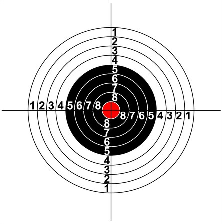 Ilustración de un símbolo de destino con centro rojo