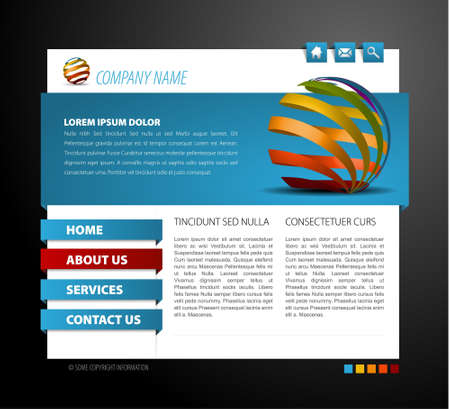 net bar: Modern web page template - with 3d navigation items