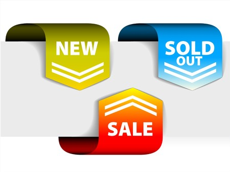 Set of arrows pointing at the new, sold out and discount item Vector